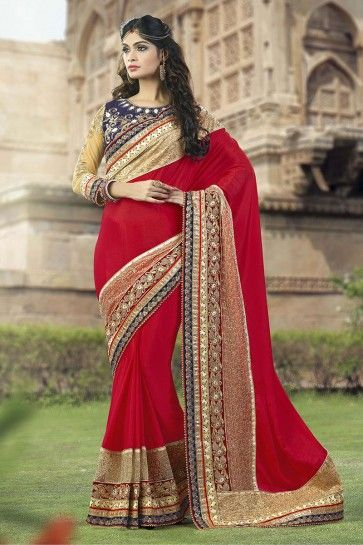 couleur rouge georgette saree