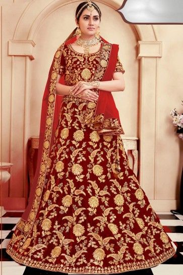Velours rouge Lehenga Choli