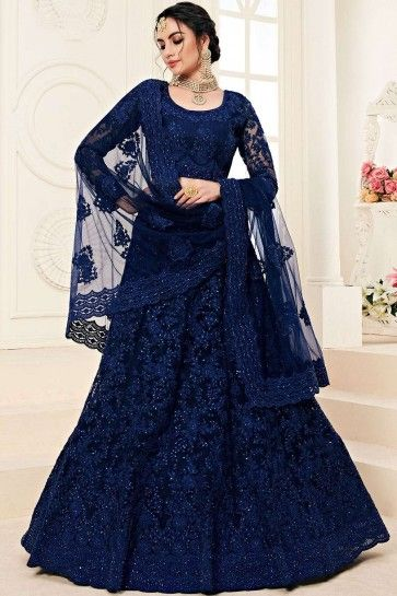 filet bleu royal lehenga choli