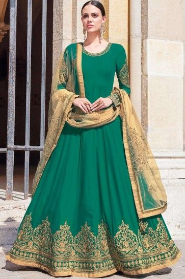 costumes georgette anarkali verts