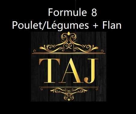 Formule 8  POULET/ LEGUMES + FLAN