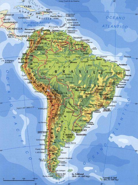 Cartina Fisico Politica Degli Stati Uniti.Cartina Geografica Politica America Del Sud
