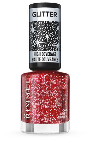 Rimmel London Glitter körömlakk – 002 Ruby Crush