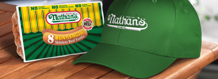 nathans famous cap and hot dogs