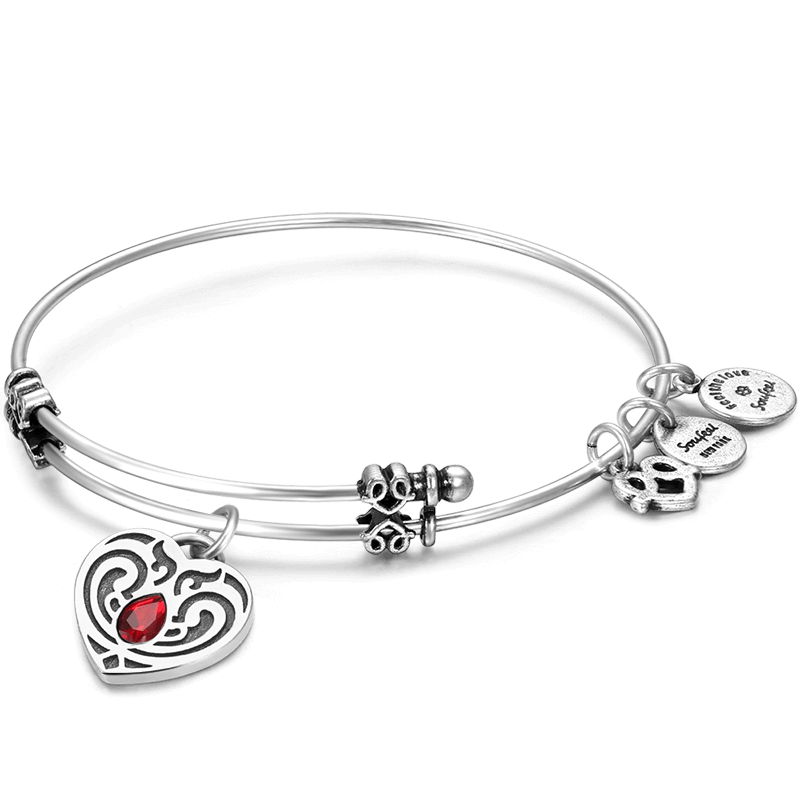 Buy January Birthstone Charm Bangle for $15.95 in Soufeel store