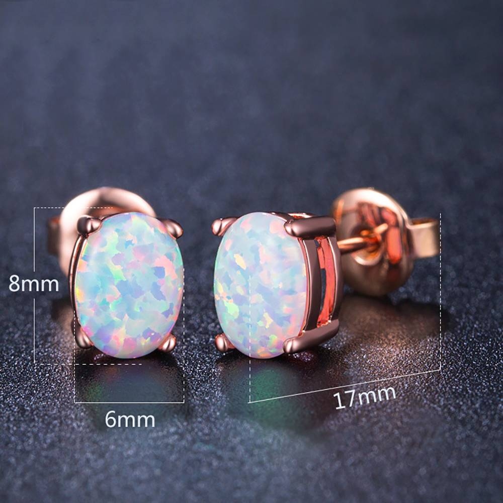 Buy White Earrings Rose Gold Plated Opal for $15.95 in Soufeel store