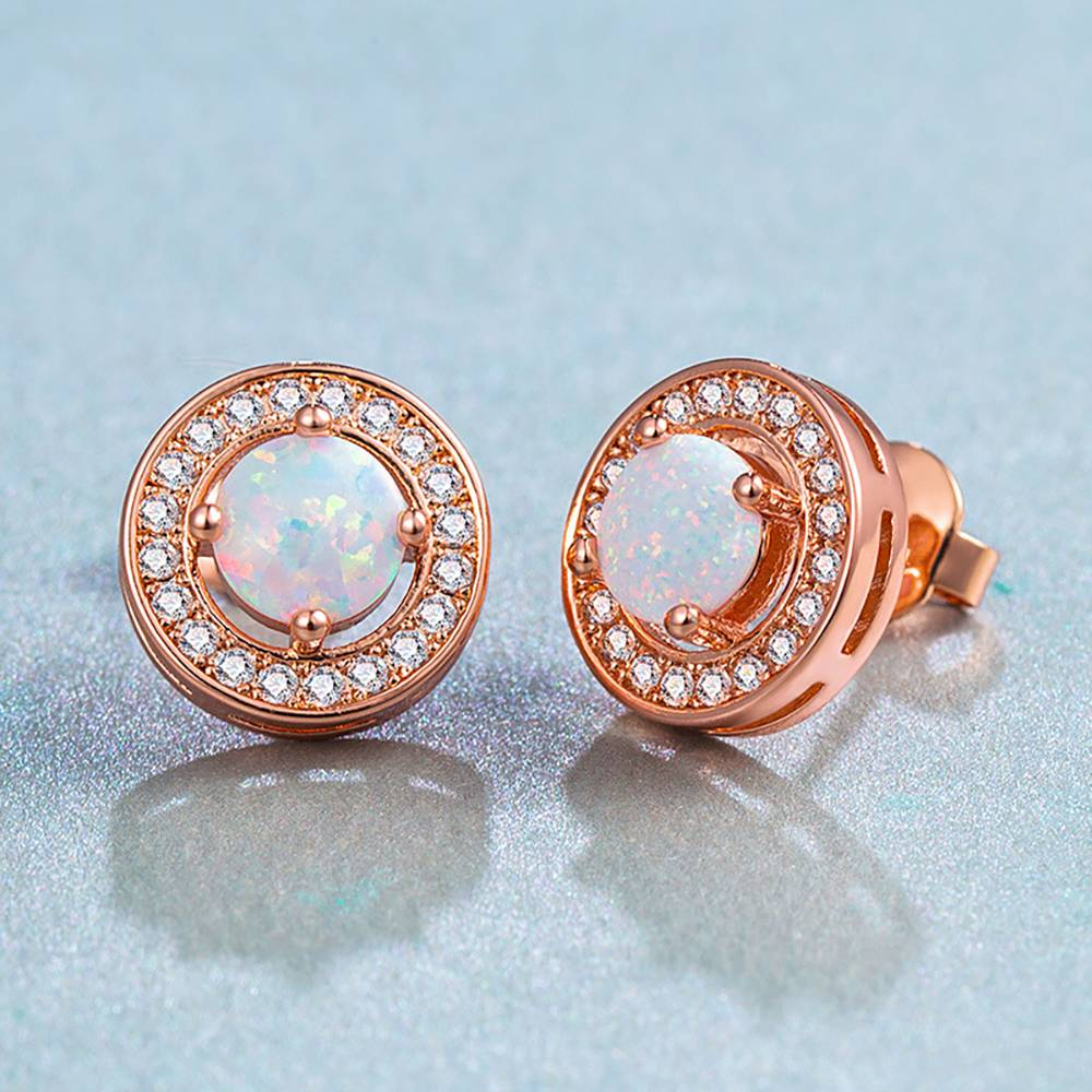 Buy Round Earrings Rose Gold Plated Opal for $17.95 in Soufeel store