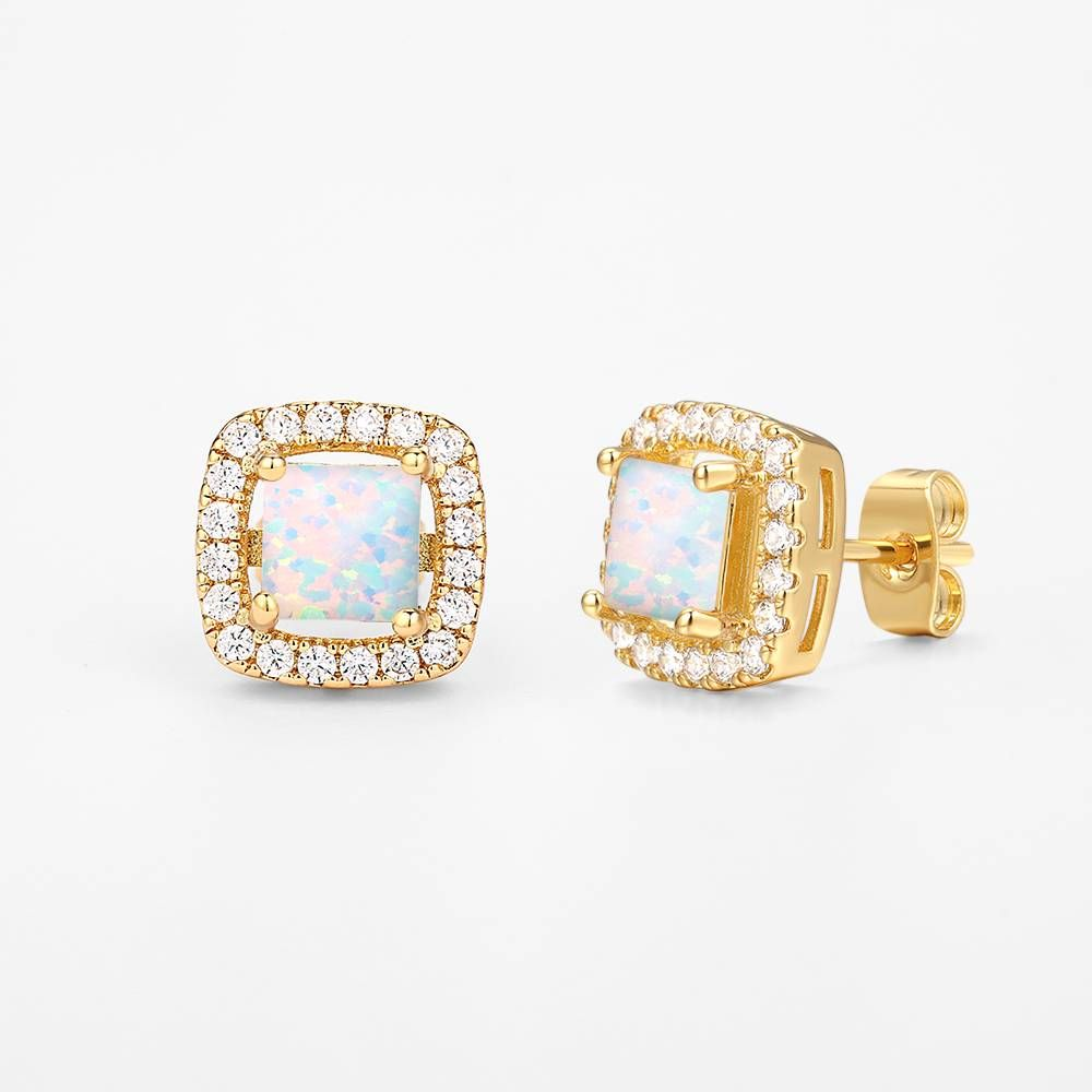 Buy White Earrings 14k Gold Plated Opal for $17.95 in Soufeel store
