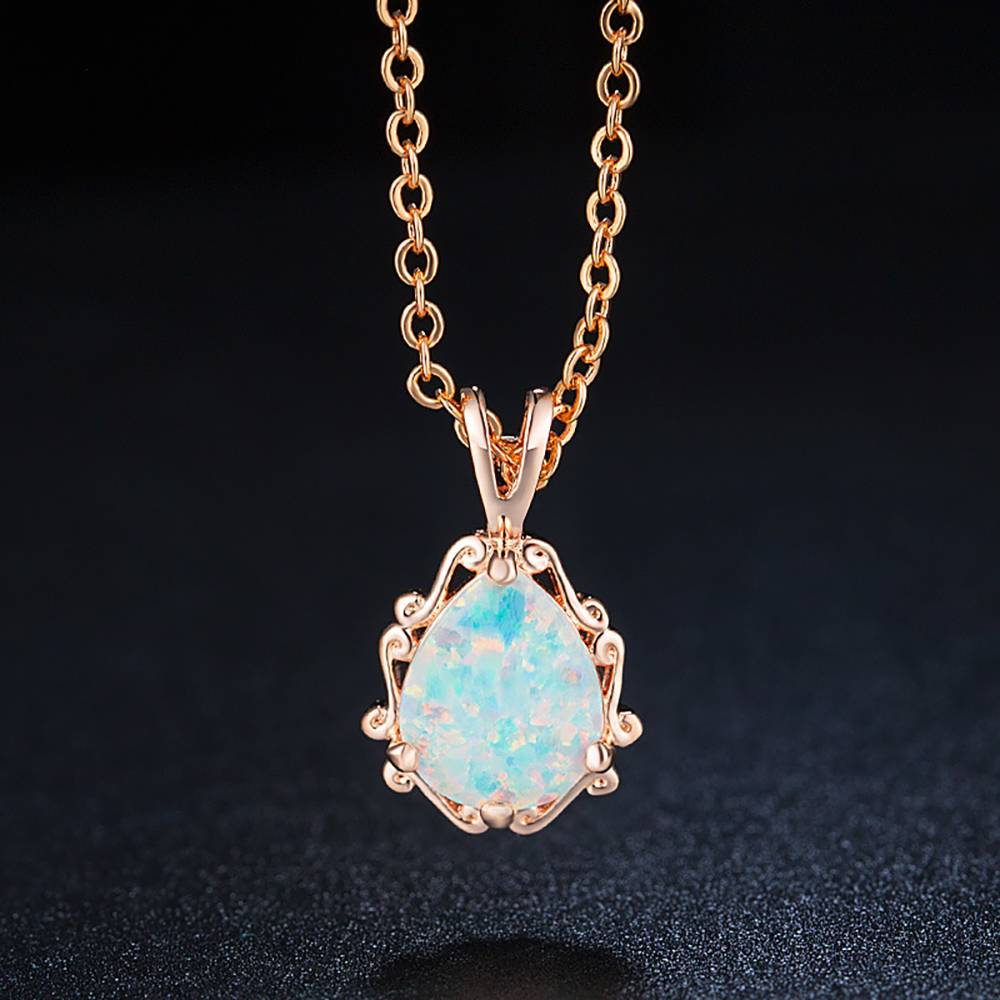 Buy White Necklace Rose Gold Plated Opal for $15.95 in Soufeel store