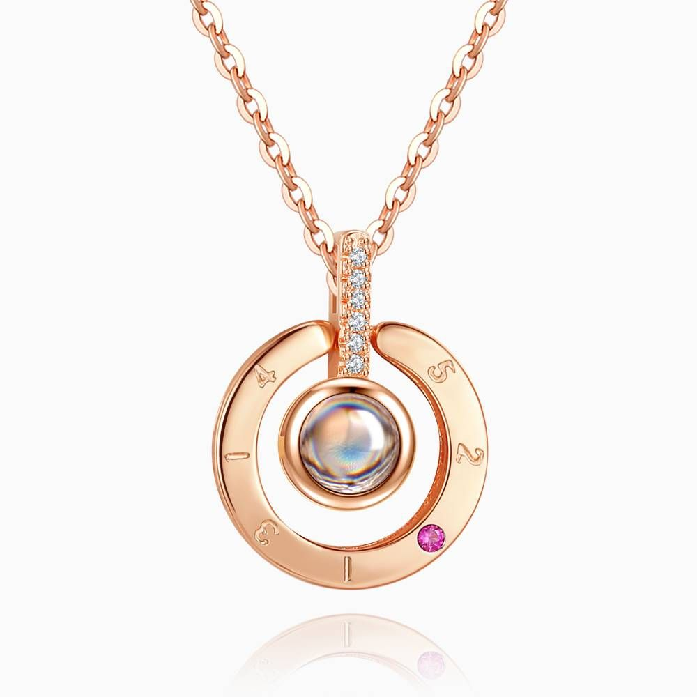 I Love You Forever Circle Pendant Necklace Rose Gold Plated