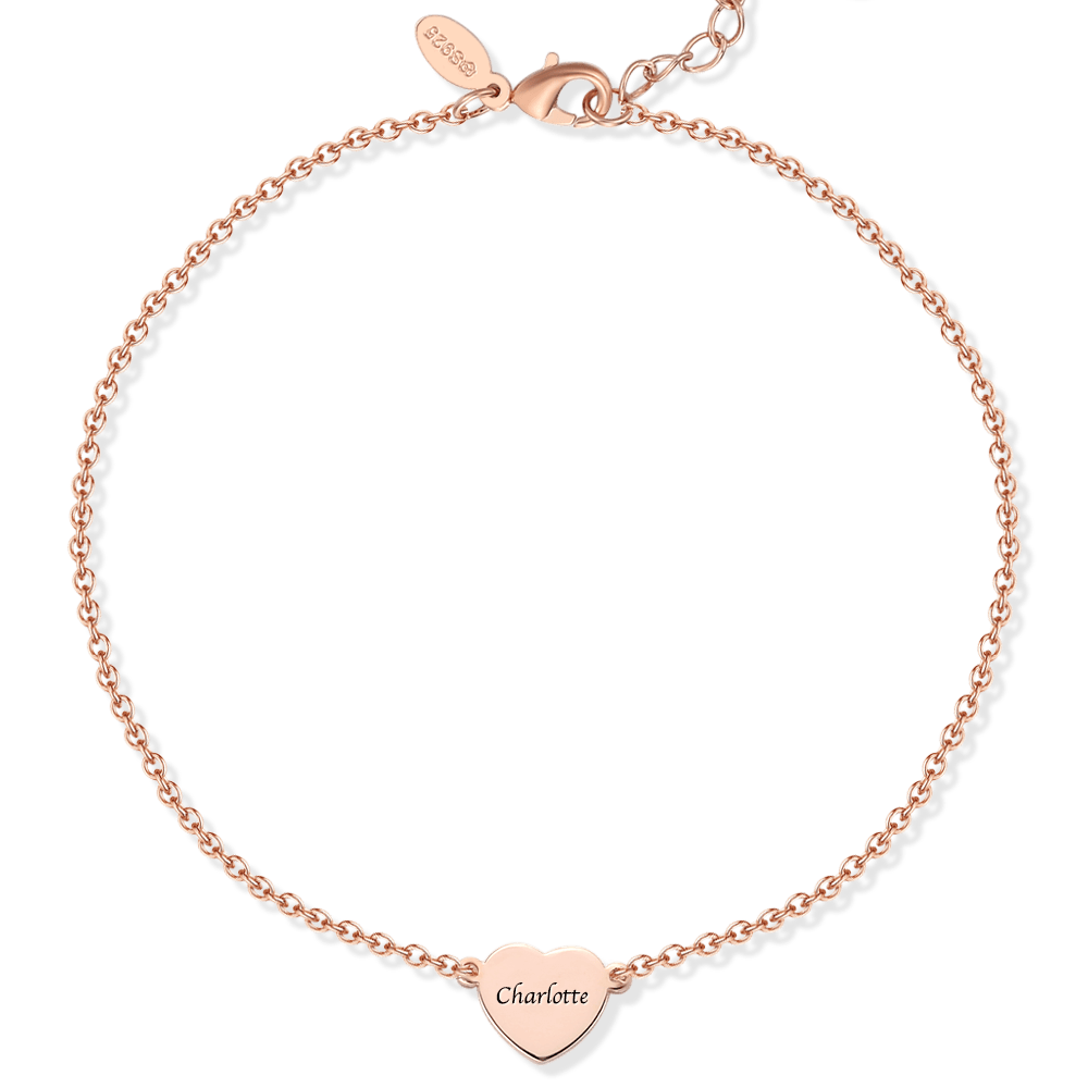 Buy Engraved Heart Anklet Rose Gold Plated Silver for $29.95 in Soufeel store