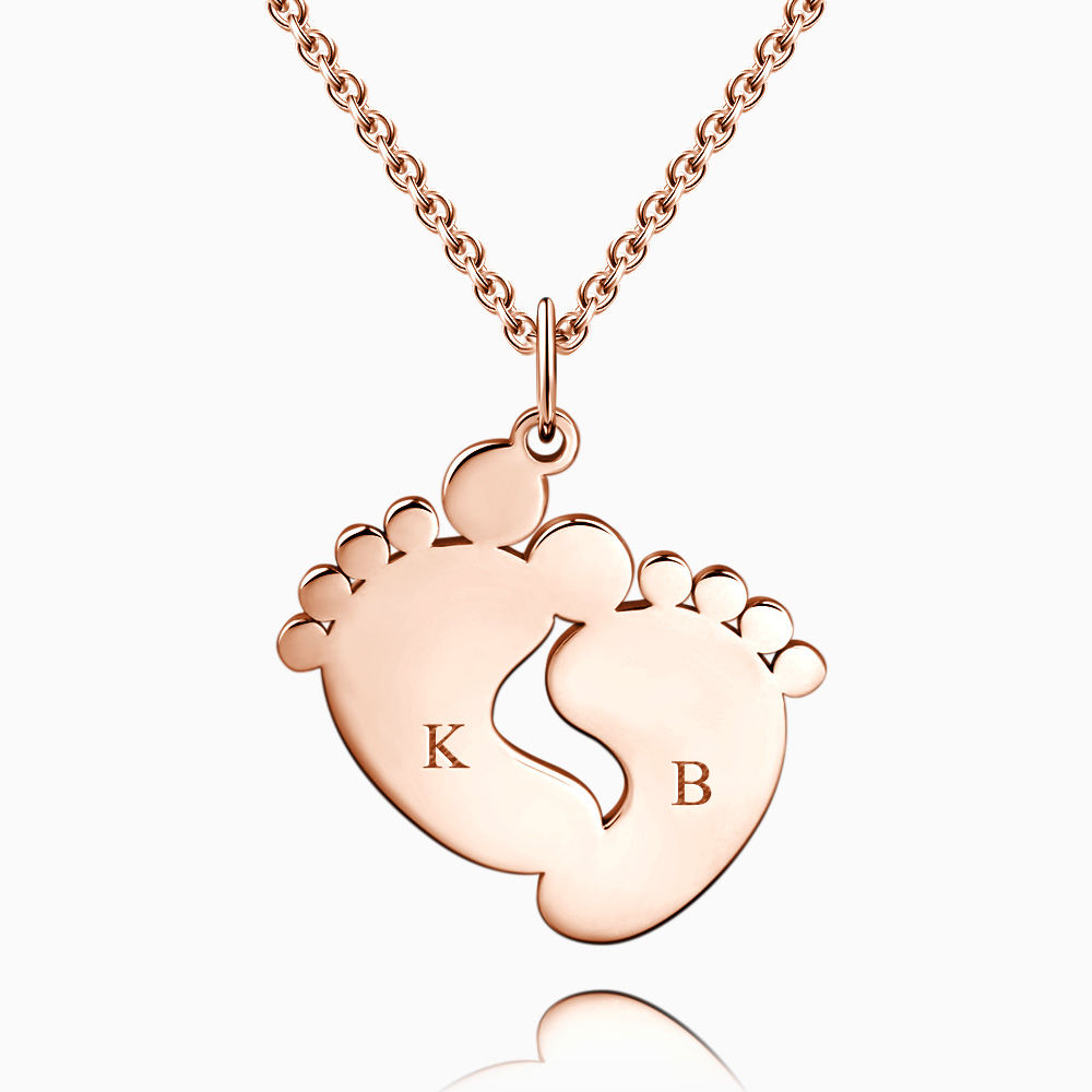 Buy Baby Feet Initial Necklace with Engraving Rose Gold Plated Silver for $45.95 in Soufeel store