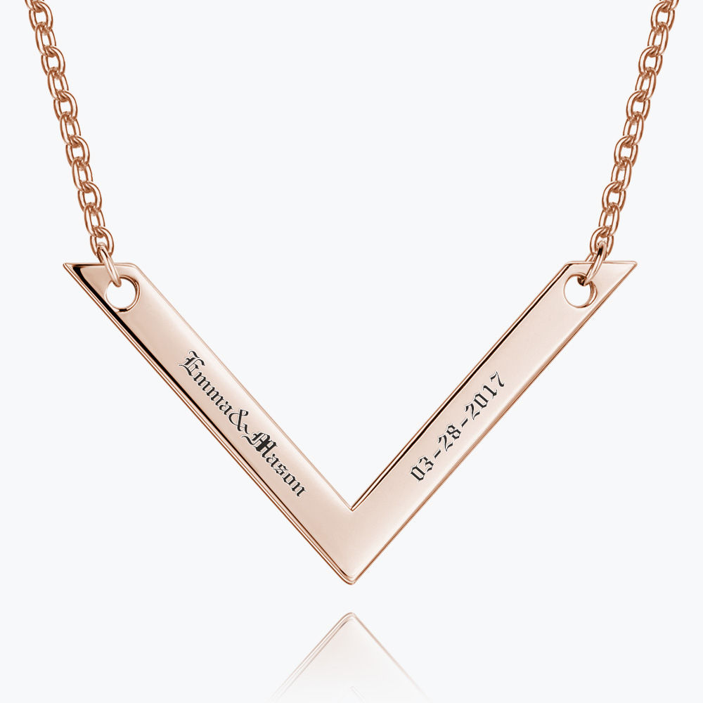 Buy Engraved Bar Necklace Rose Gold Plated Silver for $35.95 in Soufeel store