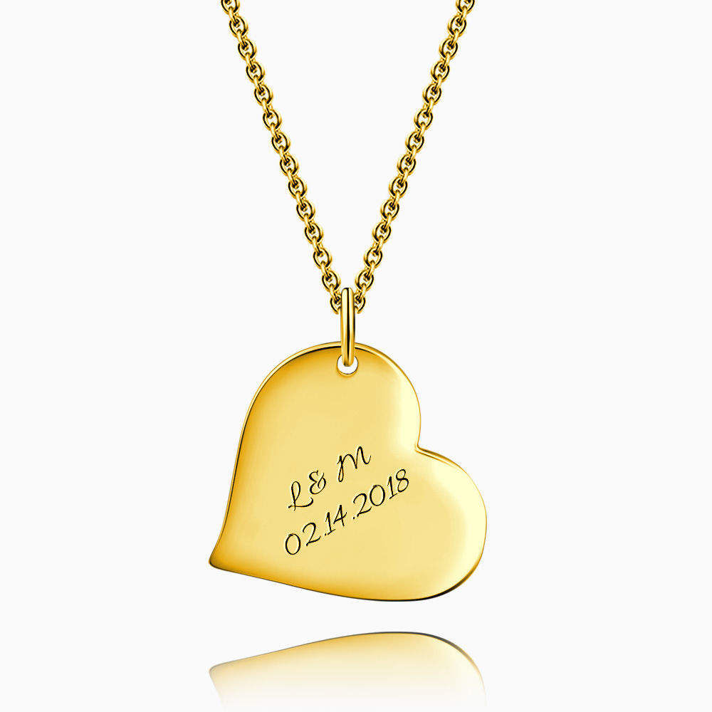 Engraved Heart Necklace 14k Gold Plated Silver