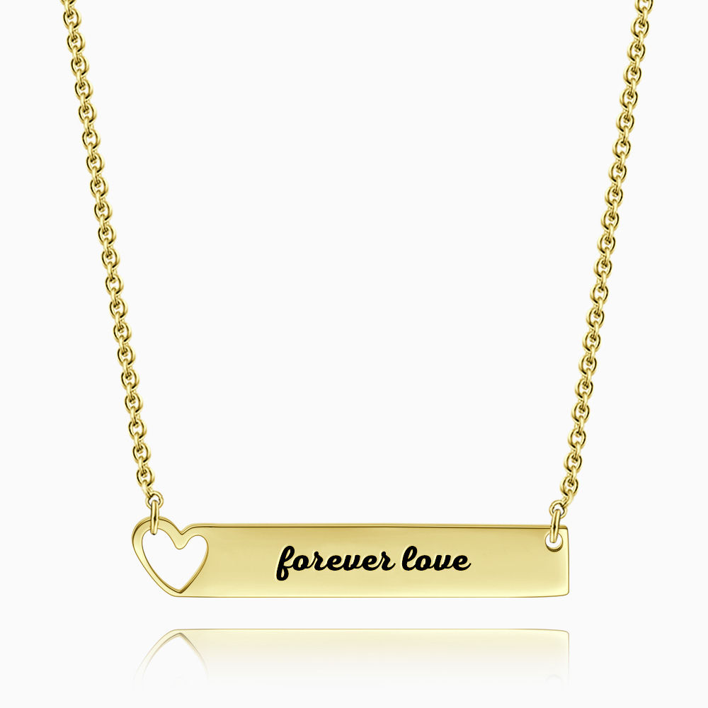 Heart Bar Necklace with Engraving 14k Gold Plated Silver