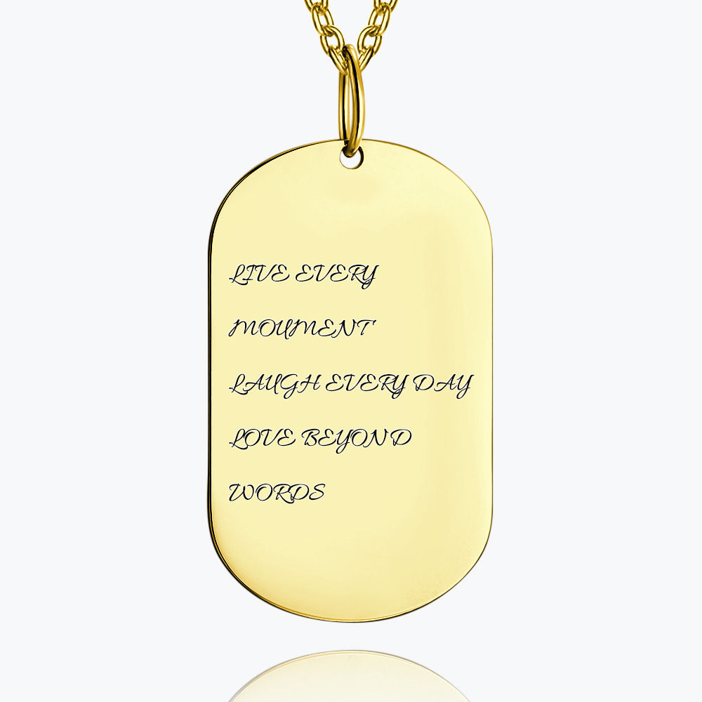 Buy Engraved Bar Necklace 14k Gold Plated Silver for $45.95 in Soufeel store