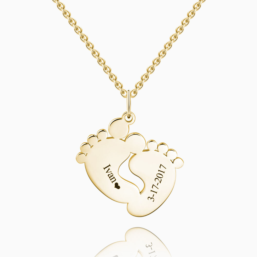 Engraved Baby Feet Necklace 14k Gold Plated Silver