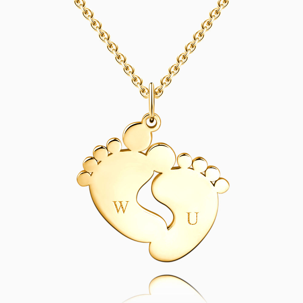 Buy Baby Feet Initial Necklace with Engraving 14k Gold Plated Silver for $45.95 in Soufeel store