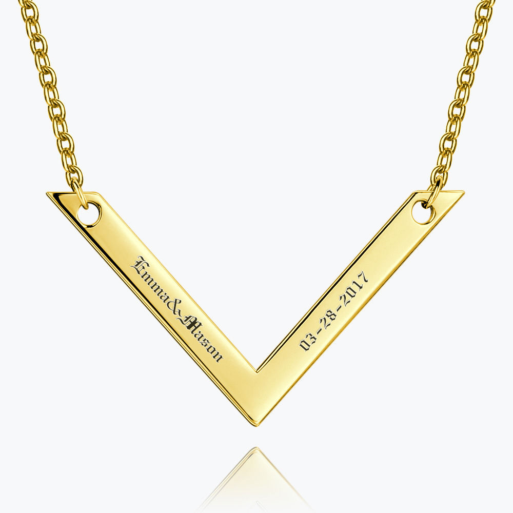 Buy Engraved Bar Necklace 14k Gold Plated Silver for $35.95 in Soufeel store