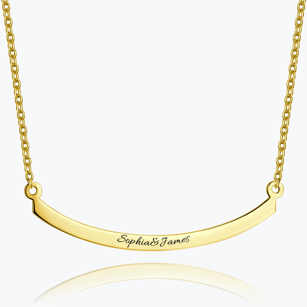 Buy Engraved Bar Necklace 14k Gold Plated Silver for $39.95 in Soufeel store