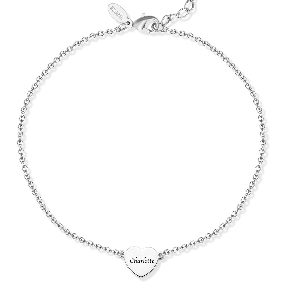 Buy Sterling Silver Engraved Heart Anklet for $25.95 in Soufeel store