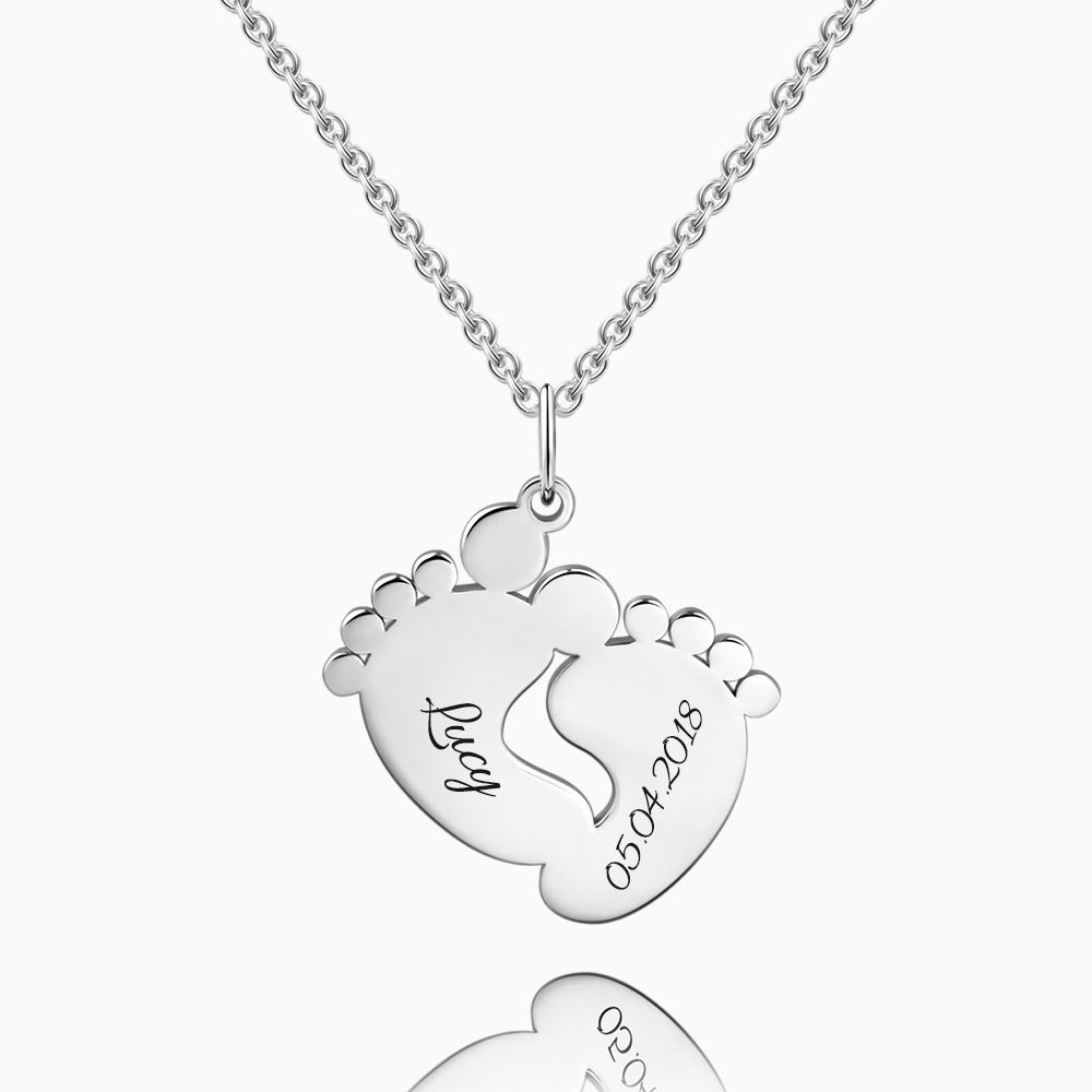 Engraved Baby Feet Necklace Silver
