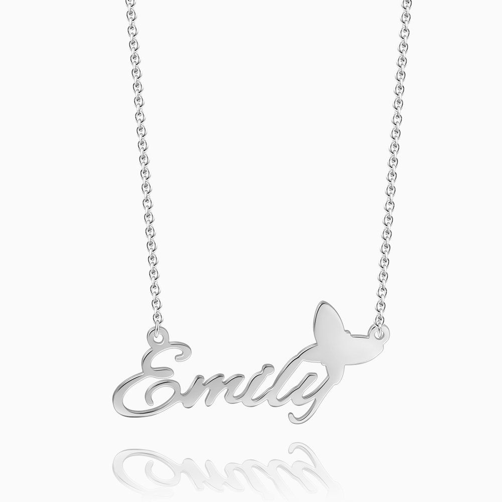 Personalized Name Necklace with Butterfly Silver