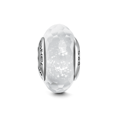 Ice Crystal Faceted Murano Glass Bead Silver