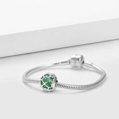 hollow clover green lucky stone charm silver