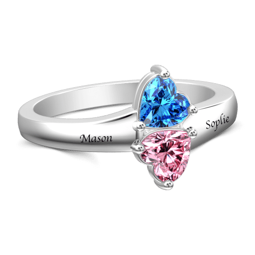 Personalized Heart Birthstone Promise Ring With Engraving