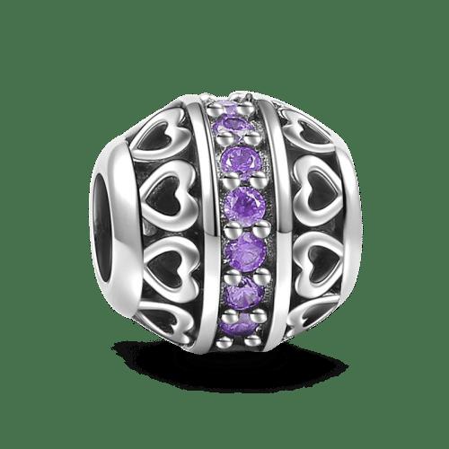 June Light Purple Birthstone Charm Silver Gifts
