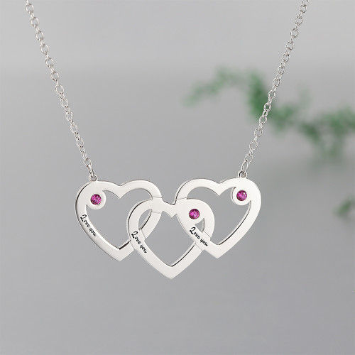 Three Heart Three Name Engraved Necklace Silver With