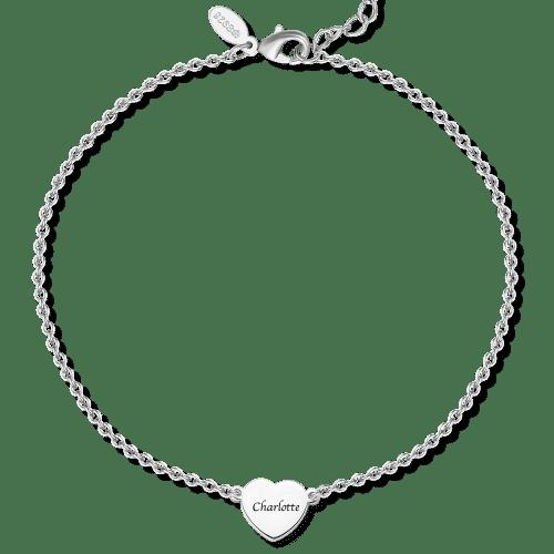 Sterling Silver Engraved Heart Anklet