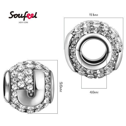 Swarovski Crystal Letter J Charm Silver Charms