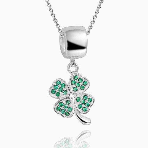 Green Four Leaf Clover Pendant Necklace Silver Necklaces