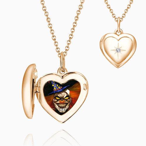 67ba6dc1d08a Halloween Payaso Collar de Medallón con Impresión de Estrella Chapado en  Oro Rosa