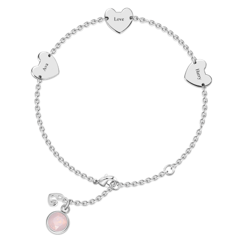 Engraved Three Hearts Bracelet With Custom Birthstone