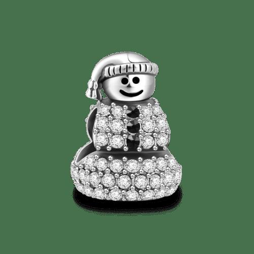 Diamond Snowman Charm Silver Christmas Gifts