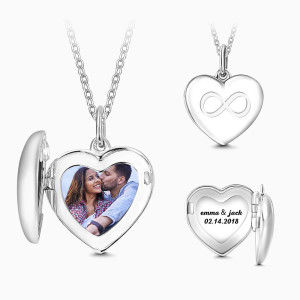 Buy Inifinity Heart Engraved Photo Necklace Silver for $39.95 in Soufeel store
