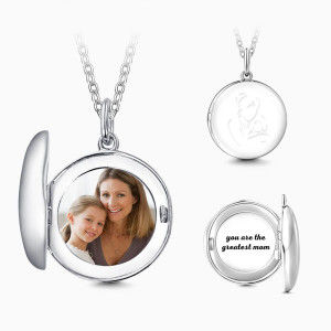 Buy Mother's Necklace Round Engraved Photo Necklace Silver for $39.95 in Soufeel store