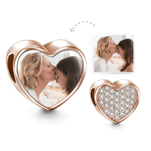 Buy Heart Photo Charm with Pave CZ Rose Gold Plated Silver for $39.95 in Soufeel store