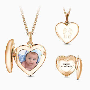 Buy Mother's Necklace Heart Engraved Photo Necklace Rose Gold Plated Silver for $59.00 in Soufeel store