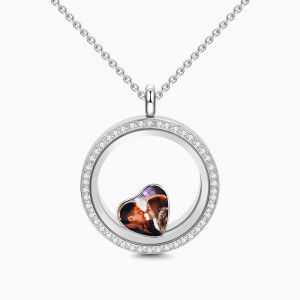 Buy Crystal Round Floating Locket Necklace with Heart Photo Charm Silver for $35.95 in Soufeel store