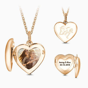 Buy Heart Engraved Photo Necklace Rose Gold Plated for $39.95 in Soufeel store