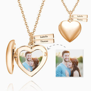 Buy Heart Photo Locket Necklace with Two Engraved Bars Rose Gold Plated for $25.95 in Soufeel store