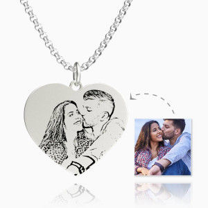 Buy Women's Heart Photo Engraved Tag Necklace Silver for $45.95 in Soufeel store