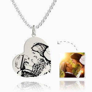 Buy Women's Vertical Heart Photo Engraved Tag Necklace Silver for $45.95 in Soufeel store