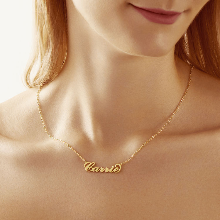 Shiny Alice Personalized Carrie Style Name Necklace Silver Custom Name Plate Necklaces Fashion Statement Necklace for Best Friend Jewelry