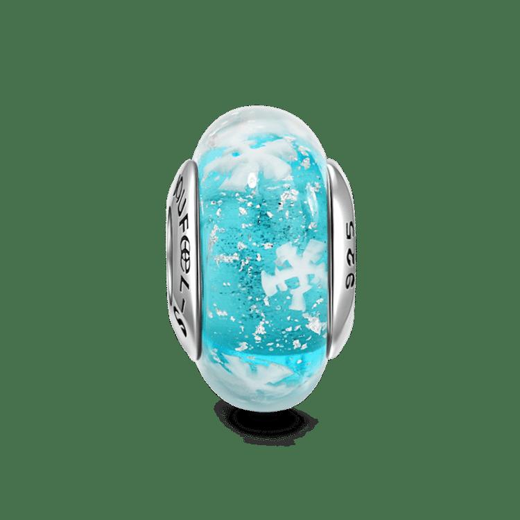 Frozen Sea Blue Murano Glass Bead Silver - Christmas - Gifts