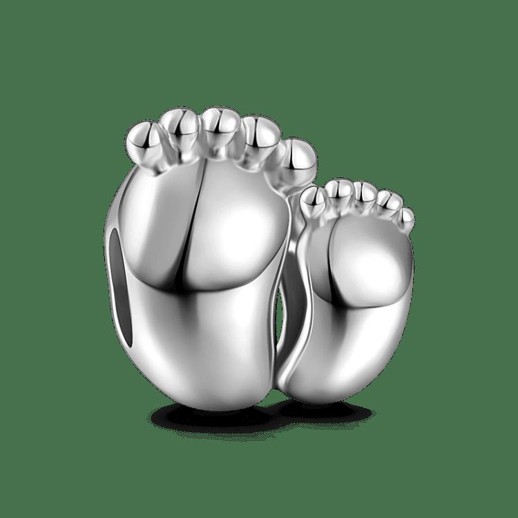 BABY FOOT .925 Solid Sterling Silver EUROPEAN Dangle Bead Charm FEET FOOTPRINT